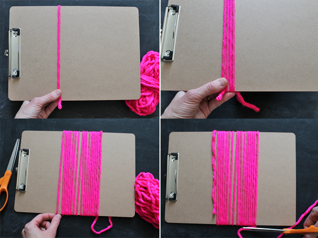 yarn tassel steps 1-4