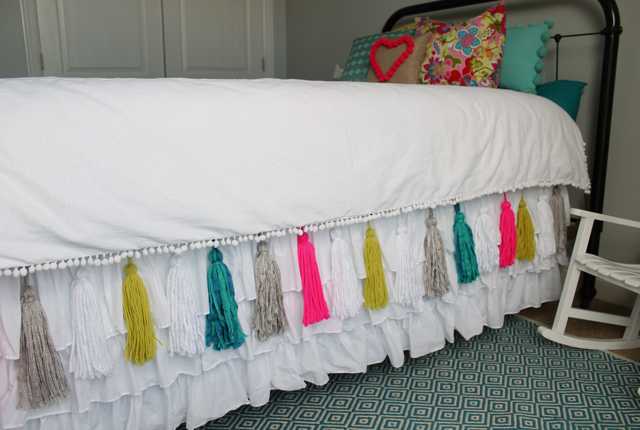 bed skirt with yarn tassels