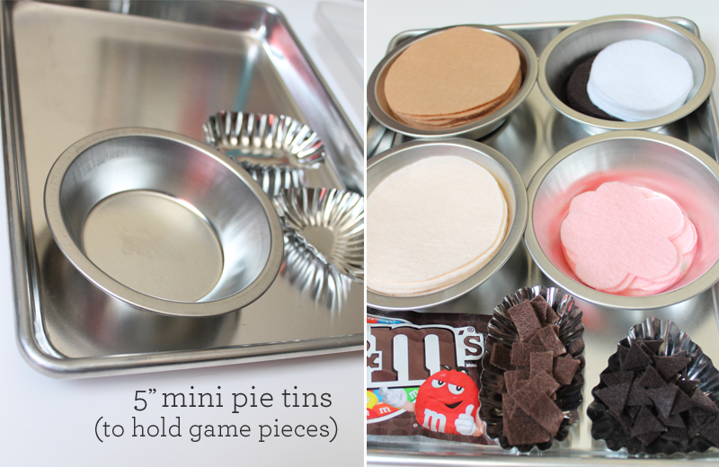 pie tins for game pieces