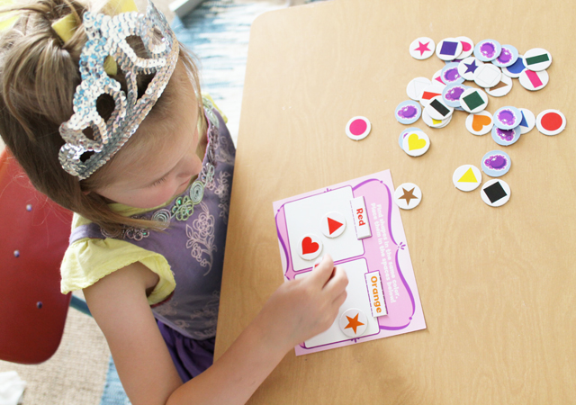 Sofia the First color and shapes activity