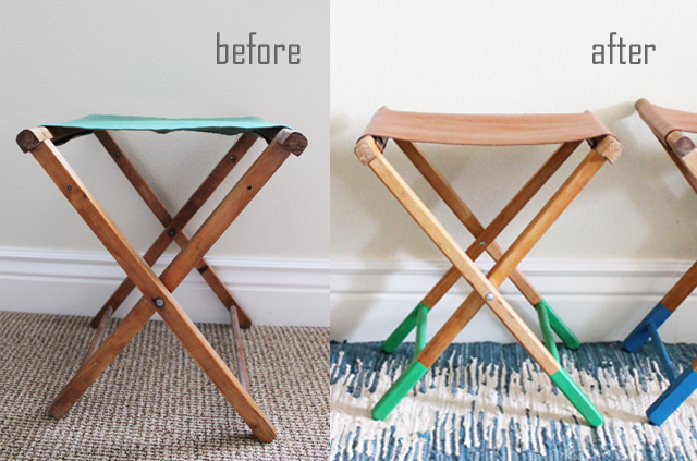 vintage camping stool_before and after