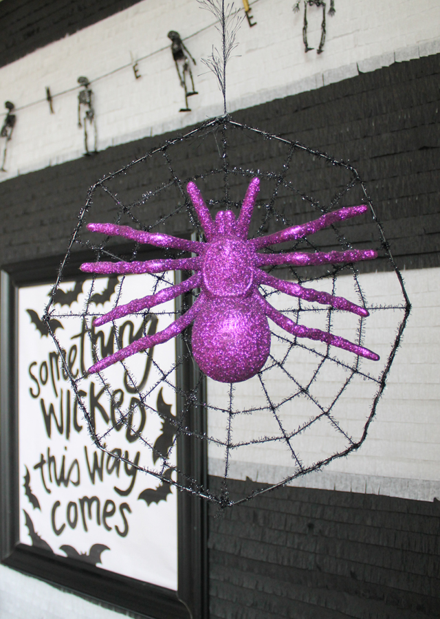 Hanging spiderweb with ceiling hooks