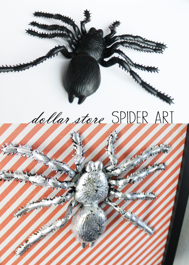 dollar store spider art