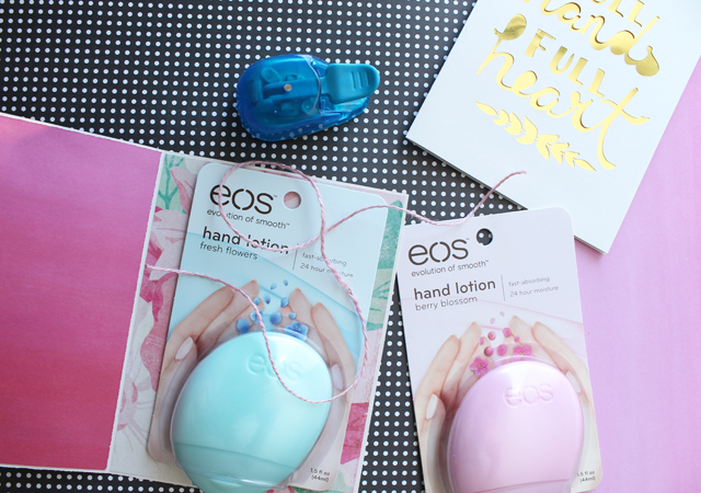 attach eos lotion to card