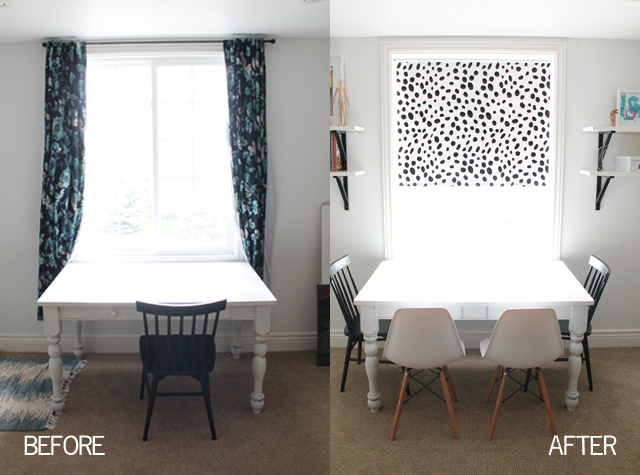 Dalmatian roller shade after