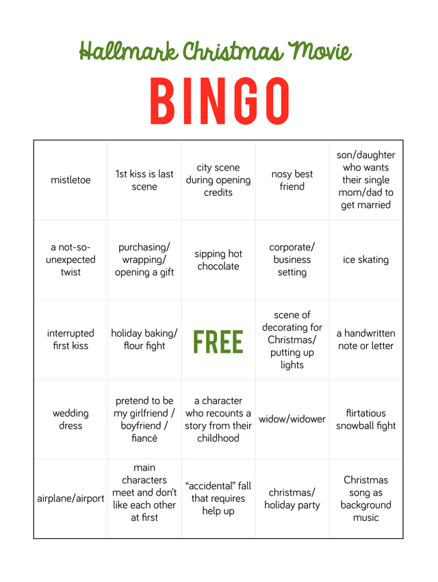 Hallmark Christmas Movie Bingo - My Sister\'s Suitcase - Packed with ...