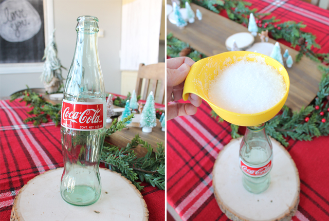 Making snowy candle in bottle
