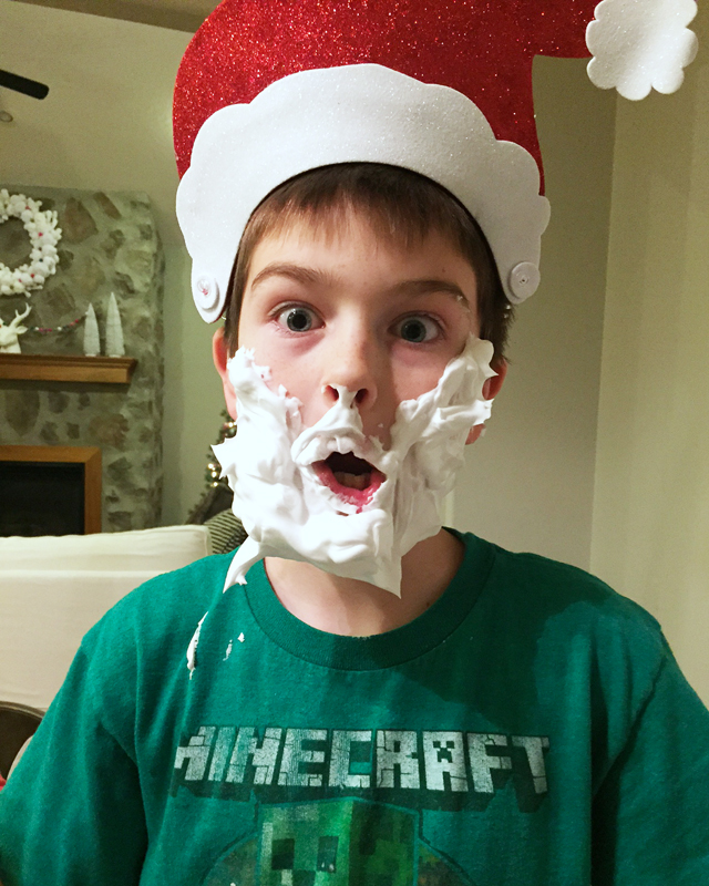 Santa beard with shaving cream