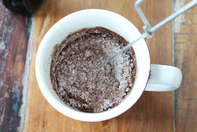 stirring up mug cake