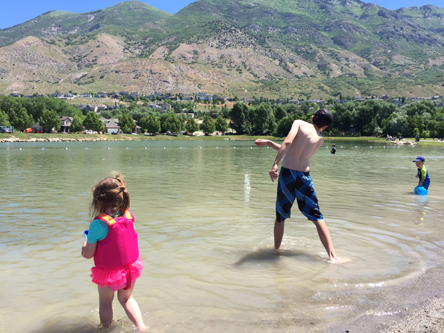 skipping rocks at the lake